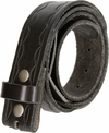 "BS058 Genuine Full Grain Leather Woven Tooled Belt Strap 1-1/2"" Wide - Black"