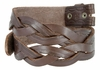 "BS058 Genuine Full Grain Leather Woven Tooled Belt Strap 1-1/2"" Wide - Brown"