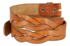 "BS058 Genuine Full Grain Leather Woven Tooled Belt Strap 1-1/2"" Wide - Tan"