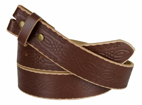 "BS085 Full Grain Tooled Leather Belt Strap 1-1/2"" wide Dr.Brown"