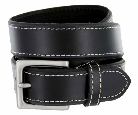 "BS1801 Genuine Full Grain 100% Buffalo Hide Bevel Edge Contrast Stitch Casual Belt - Black 1 3/8"" Wide"