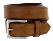 "BS1801 Genuine Full Grain 100% Buffalo Hide Bevel Edge Contrast Stitch Casual Belt - Brown 1 3/8"" Wide"