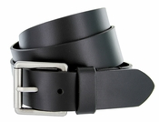 BS1808 Full Grain Buffalo Hide 100% Leather Smooth Casual Belt with Heavy Duty Roller Buckle - Black 1 1/2""
