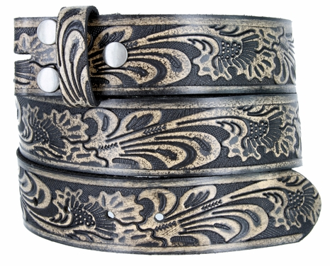 "BS220 Western Embossed Snaps On Belt Strap 1-1/2"" Wide -Vintage Black"