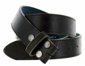 "BS57 Vintage Genuine Leather Belt Strap 1-1/2"" Wide - Black"