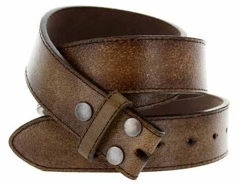 "BS57 Distressed Leather Belt Strap 1 1/2"" Wide - Brown"