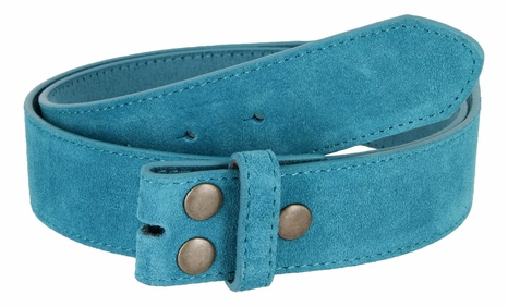"BS066 Blue Suede Leather Belt Strap 1 1/2"" Wide"