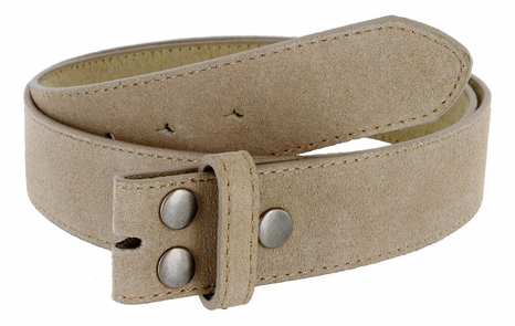 "BS066 Tan Suede Leather Belt Strap 1 1/2"" Wide"