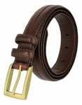 "Rome Brown Genuine Leather Dress Belt 1-1/8"" Wide"