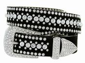 "DM1006 Women's Rhinestones Studded Leather fashion Belt 1-1/4"" Wide - Crystal"