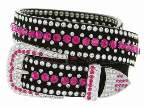 "DM1006 Women's Rhinestones Studded Leather fashion Belt 1-1/4"" Wide - Pink"