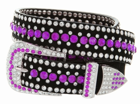 "DM1006 Women's Rhinestones Studded Leather fashion Belt 1-1/4"" Wide - Purple"