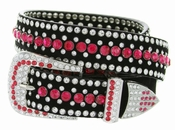 "DM1006 Women's Rhinestones Studded Leather fashion Belt 1-1/4"" Wide - Red"