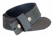 "E051 One Piece 100% Full Genuine Leather Belt Strap 1-1/2"" (38mm) - Moss Green"