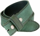 "E051 One Piece 100% Full Genuine Leather Belt Strap 1-1/2"" (38mm) - Sea Green"