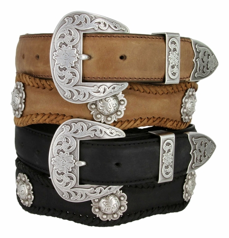 Fort Worth Western Mens Saddle Berry Concho Belt 1 1/2""