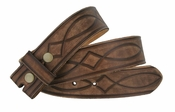 Fullerton 3820002 Genuine Full Grain Leather Tooled Belt Strap - Brown