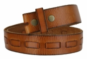 Fullerton 3830003 Genuine Full Grain Leather Belt Strap with Matching Overlapped Leather - Tan