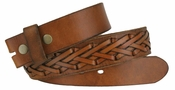Fullerton 386002 Hand Laced Genuine Full Grain Leather Belt Strap - Brown