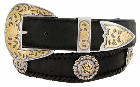 """Gold Coloma Concho Men's Western Leather Belt 1-1/2"""" (38mm) Wide"""
