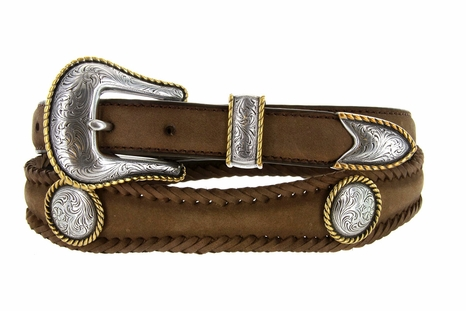 Gold Round Rope Edge Conchos Western Leather Belt