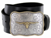 Golden Longhorn Full Leather Casual Belt