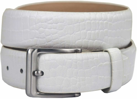 Grove Genuine Italian Leather Dress Belt-Alligator White