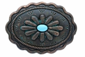 H8389-2 Turquoise Inlay Flower Patina Buckle 1 1/2""