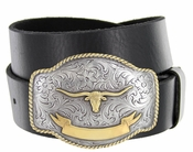 HA 0435 Gold Longhorn Trophy Western Full Grain Leather Belt