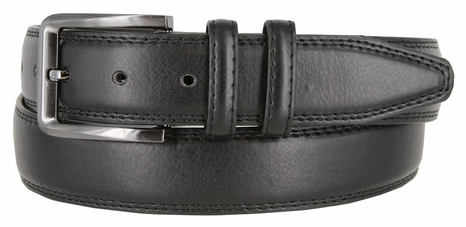 "HJ0086 Genuine Leather Casual Dress Belt 1-3/8"" - Black"