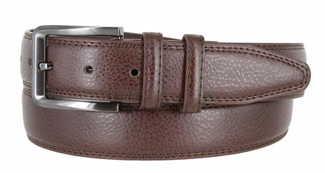 "HJ0086 Genuine Leather Casual Dress Belt 1-3/8"" - Brown"