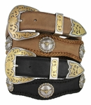 "Laredo Longhorn Steer Berry Concho Western Leather Cowboy Belt 1 1/2"" Wide"