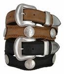 Liberty Western Walking Liberty Coin Concho Leather Belt