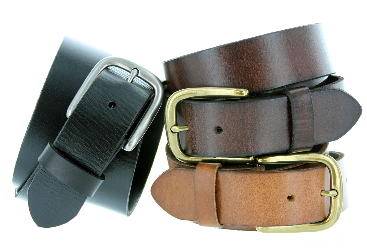 Men/'s Leather Belt with Solid Brass Buckle