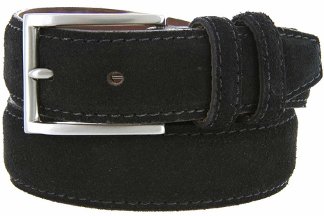 Men's Suede Leather Dress Belt - Black