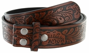 "NC88 Western Embossed Snaps On Belt Strap 1-1/2"" Wide Brown"