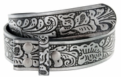 "NC88 Western Embossed Snaps On Belt Strap 1-1/2"" Wide Gray/Black"