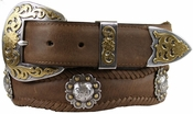 "Old Saddle Western Belt Berry Concho Scalloped Leather Belt 1 1/2"" Wide"