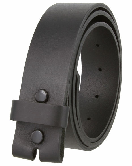 "One Piece Full Grain Leather Casual Dress Belt Strap 1-1/2"" wide - Black"