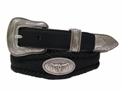Open Range Longhorn Steer Conchos Leather Western Belt