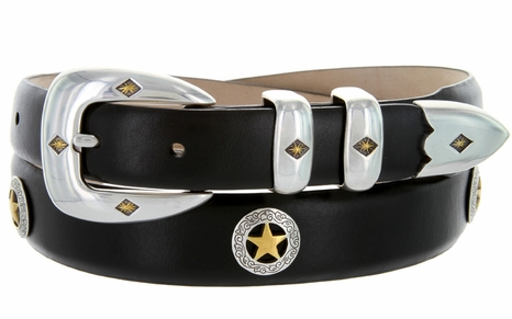 Presidential Gold Star Concho Western Leather Golf Belt