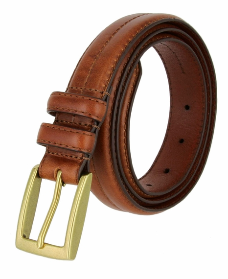 "Rome Tan Genuine Leather Dress Belt 1-1/8"" Wide"