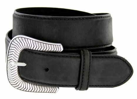 "S8131 Antique Silver Engraved Western Buckle Genuine Leather Belt 1-1/2"" Black"