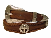 Silver Cross Christian Leather Western Conchos Belt