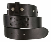 "TB105 Black Genuine Hand-Laced Leather Belt Strap 1-3/4"" Wide"