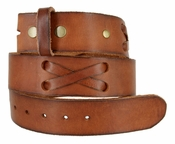 "TB105 Brown Genuine Hand-Laced Leather Belt Strap 1-3/4"" Wide"