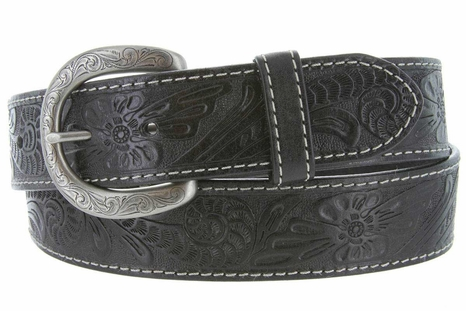 Terry Western Engraved Buckle Genuine Leather Belt 1-1/2 inch (38mm) Black