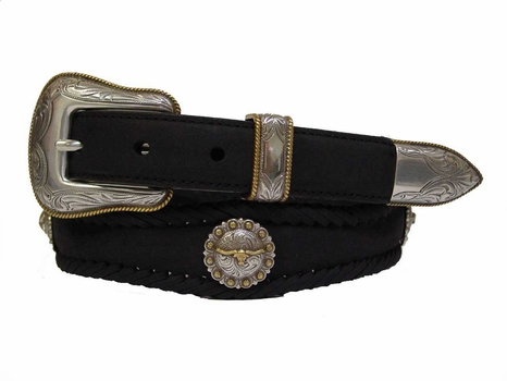 Texas Longhorn Western Leather Steer Concho Belt