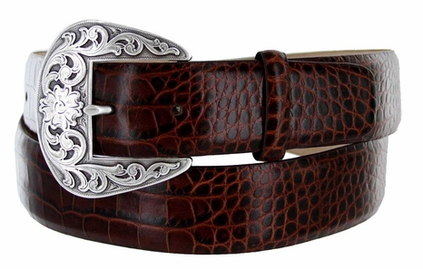 "Western Buckle Italian Embossed Calfskin Leather Belt 1-1/2"" Wide - Brown"