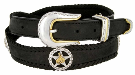 Western Texas Ranger Star Cowboy Concho Leather Belt